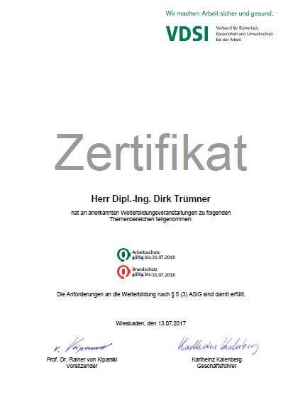 Zertifikat VDSI Trümner 2017