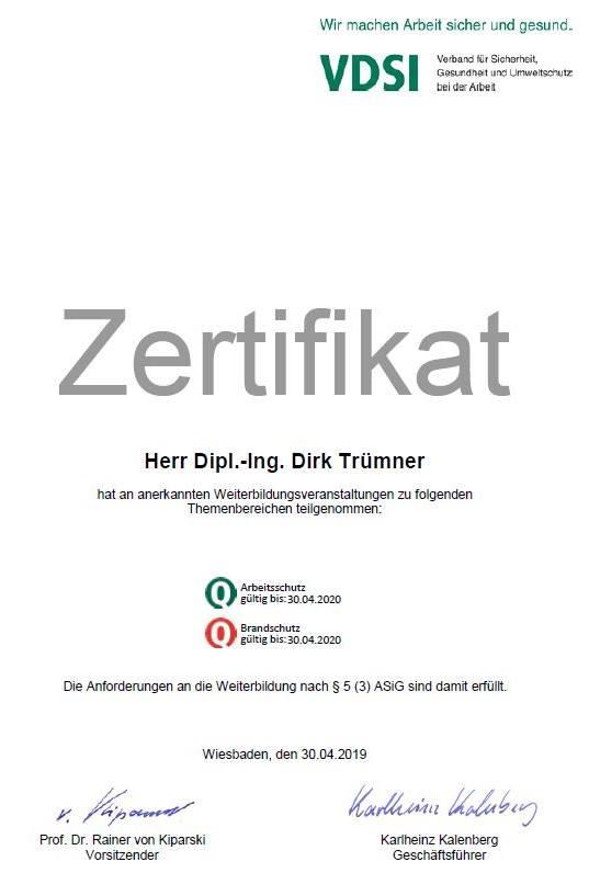 Dipl.-Ing. Dirk Trümner, M Eng – Zertifikat des VDSI – Arbeits- und Brandschutz 2019